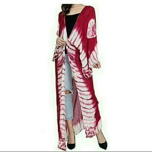 Accessories - Tie Dye Boho Style Long Duster Kimono Wraps